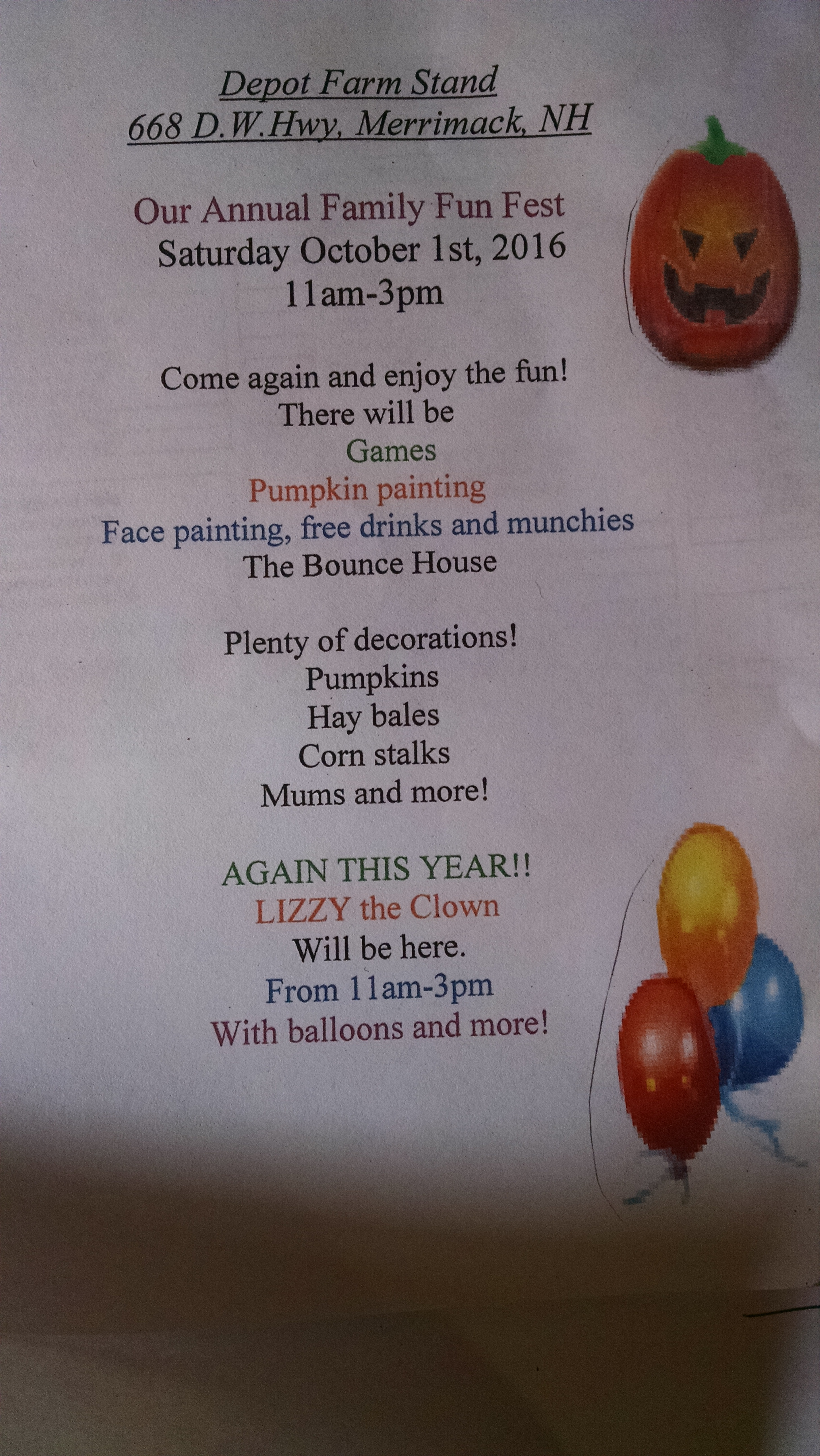 Flyer about October Fun Fest